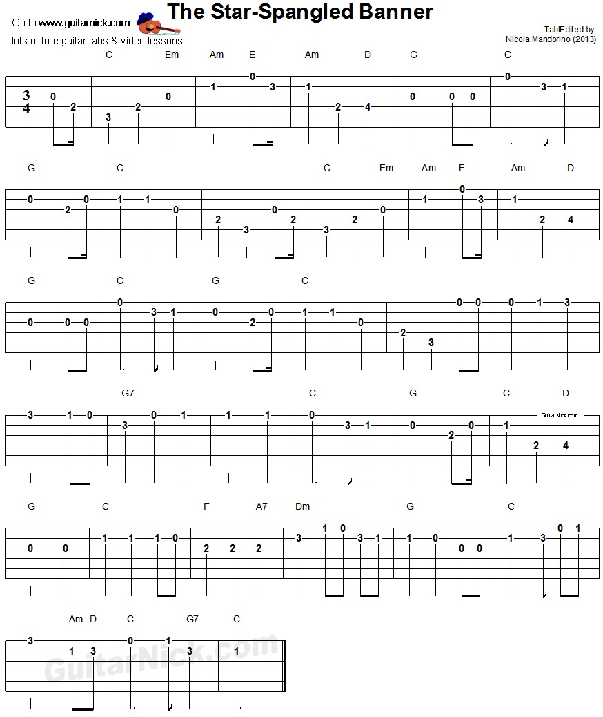 The Star Spangled Banner Easy Guitar Tablature Songs I Want To