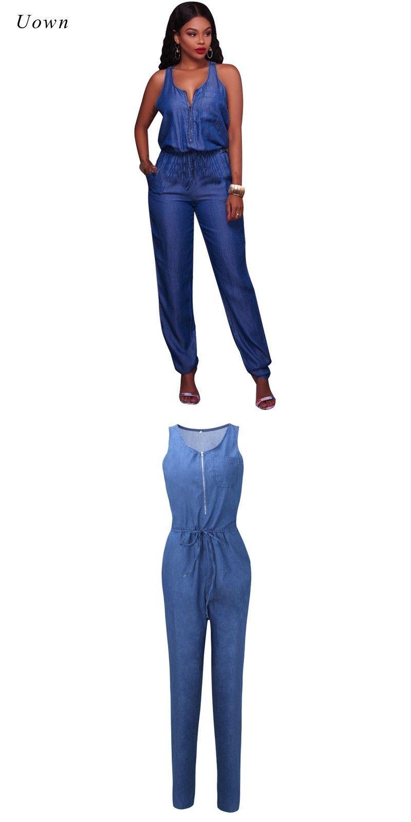 8c74e0577012 Summer Denim Jumpsuit for Women Sleeveless Zipper Front Pockets Long Pants  Romper Ladies Elegant One Piece Blue Jeans Jumpsuits