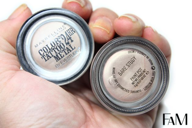 Mac Paintpot Bare Study Vs Maybelline Barely Branded Color Tattoo Metal Review And Swatches Dupe Maybellin Color Tattoo Maybelline Color Tattoo Maybelline