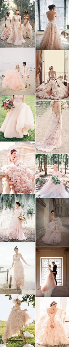 15 Sweet Peach and Blush Wedding Dresses | http://www.deerpearlflowers.com/15-sweet-peach-blush-wedding-dresses/