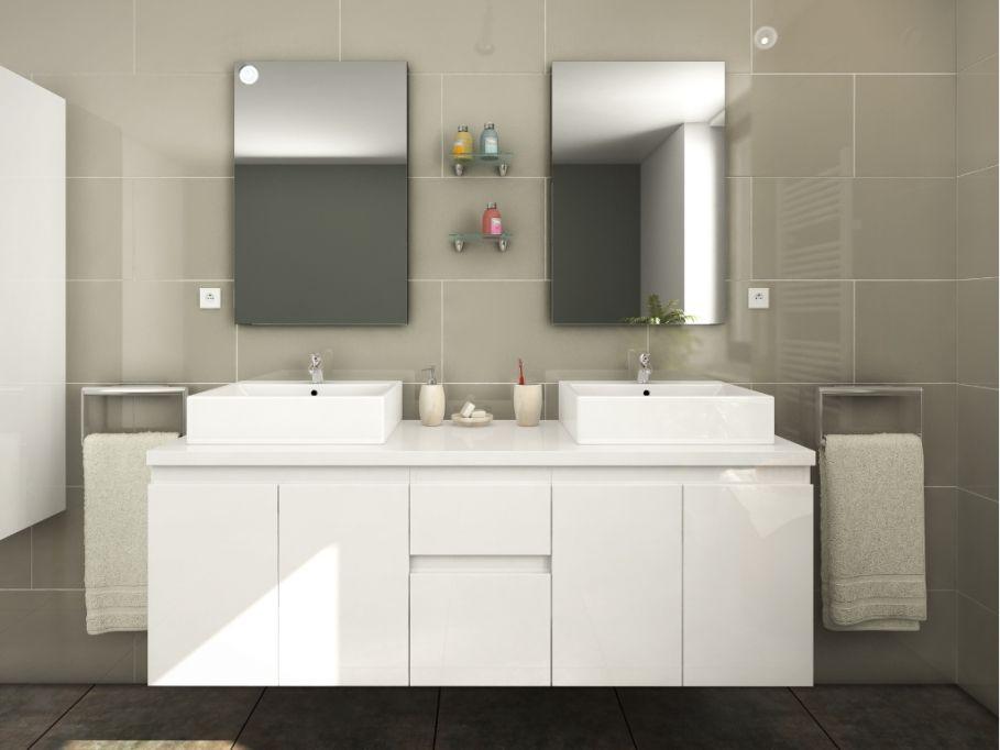 Ensemble de salle de bain LAVITA II suspendus avec double vasque et