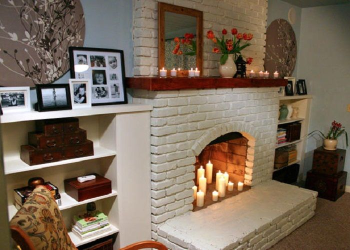 shelves on both sides of fireplace  For the Home  Fireplace mantel kits Brick fireplace
