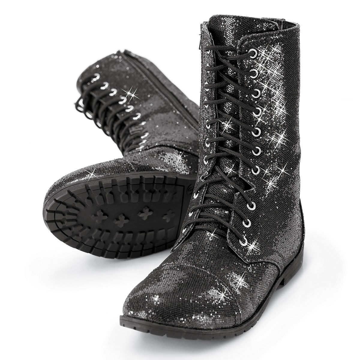 These flashy, sparkling combat boots can go straight from hip-hop ...
