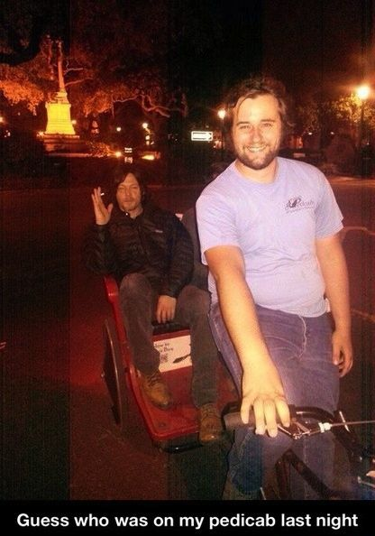 Norman Reedus riding around Savannah Georgia in a pedicab, yes he is that cool