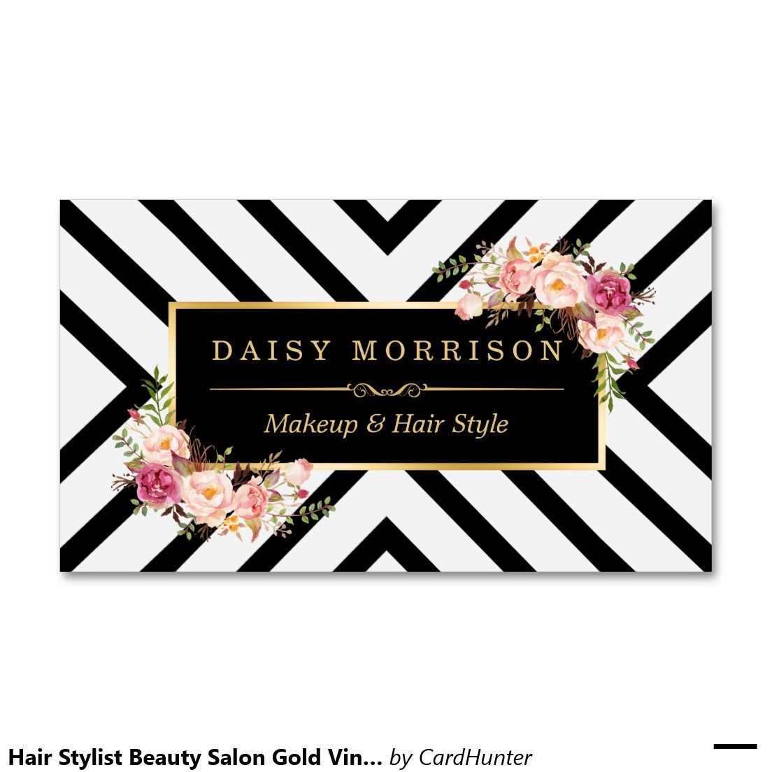 Hair Stylist Beauty Salon Gold Vintage Floral Business Card | Salon ...