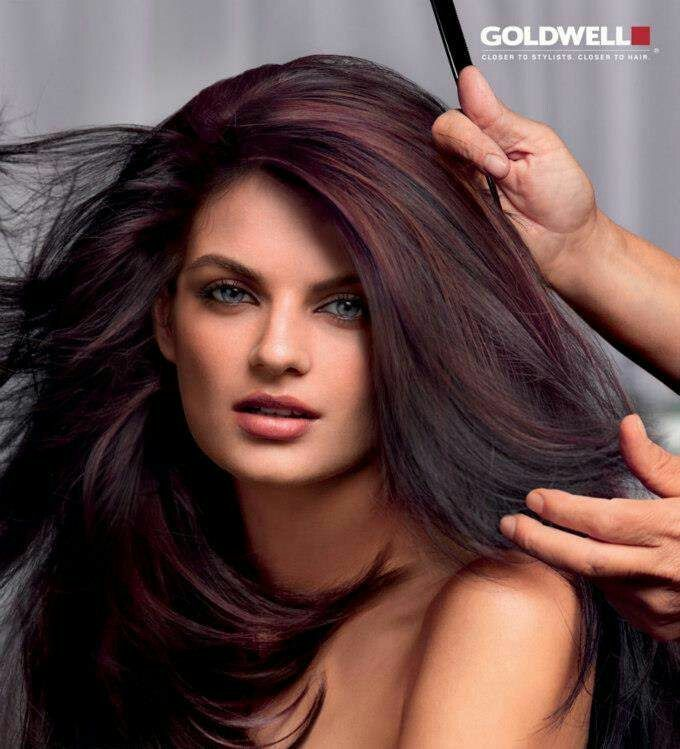 Winter Hair Color Ideas For Brunettes: Red Purple Highlights With Black Base