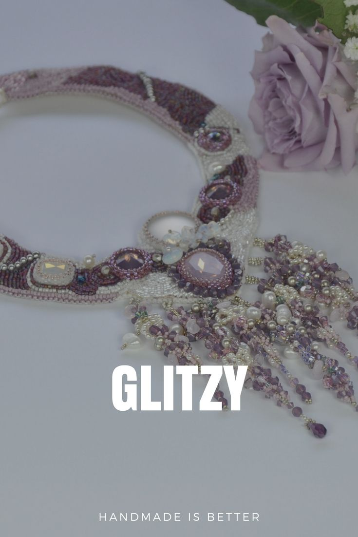 Look for a good gift ? Beautiful necklace made entirely by hand, with embrodery technique, cabochon SWAROVSKY opal rose in different sizes, cabochon LUNA SOFT opaque white, cabochon white squares, beads SWAROVSKY, white QUARTZ chips and glass beads.