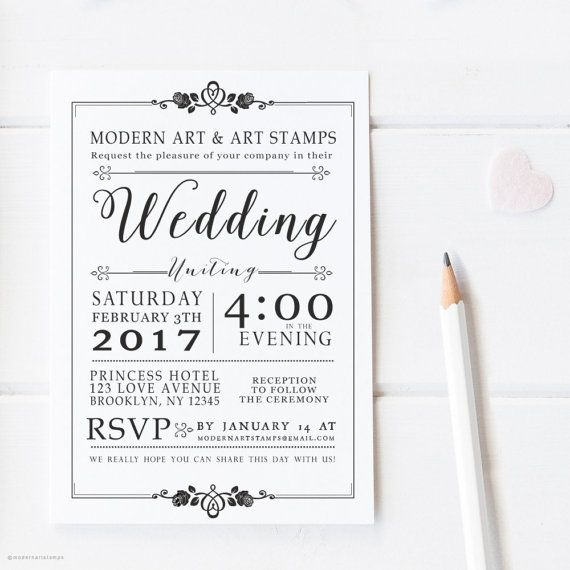 Elegant Wedding Invitation Stamp Custom Rubber Stamps Wedding