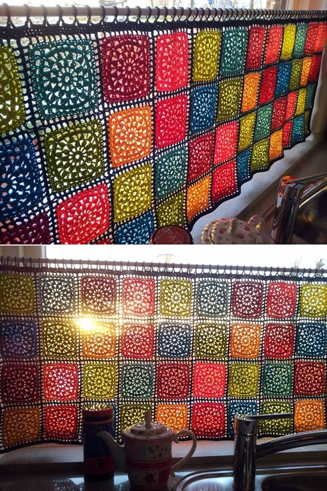 This colorful crochet curtain looks so cheerful in a kitchen window ...