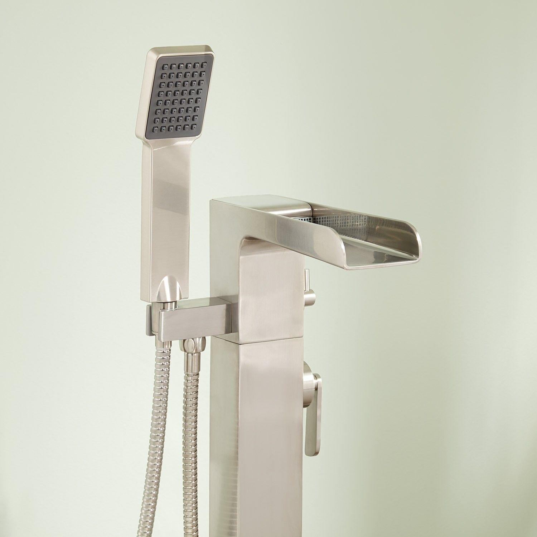 Dario Freestanding Waterfall Tub Faucet with Hand Shower   bathroom ...