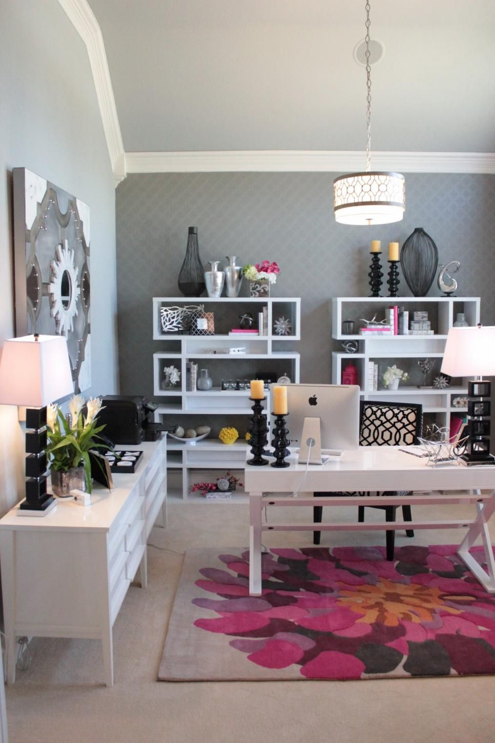 grey home office. Sophisticated Grey Home Office Features Pops Of Pink: This Feminine Showcases Unique Lighting S