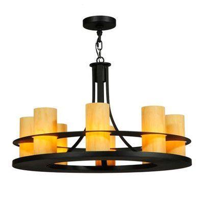 Meyda Tiffany Greenbriar Oak 8 Light Candle Chandelier