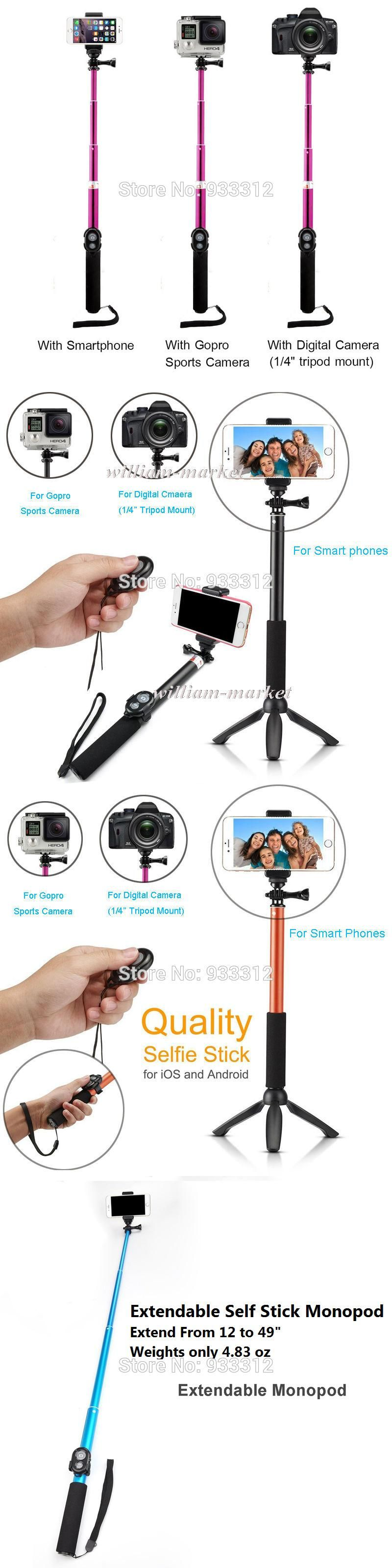 "For Xiaomi yi YUNTENG Tripod Bluetooth Camera Remote Selfie Stick 39"" Monopod For 6S"