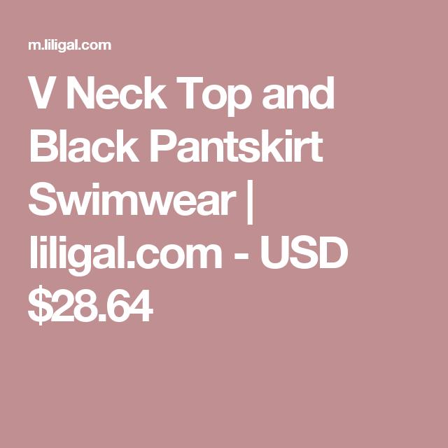 V Neck Top and Black Pantskirt Swimwear | liligal.com - USD $28.64
