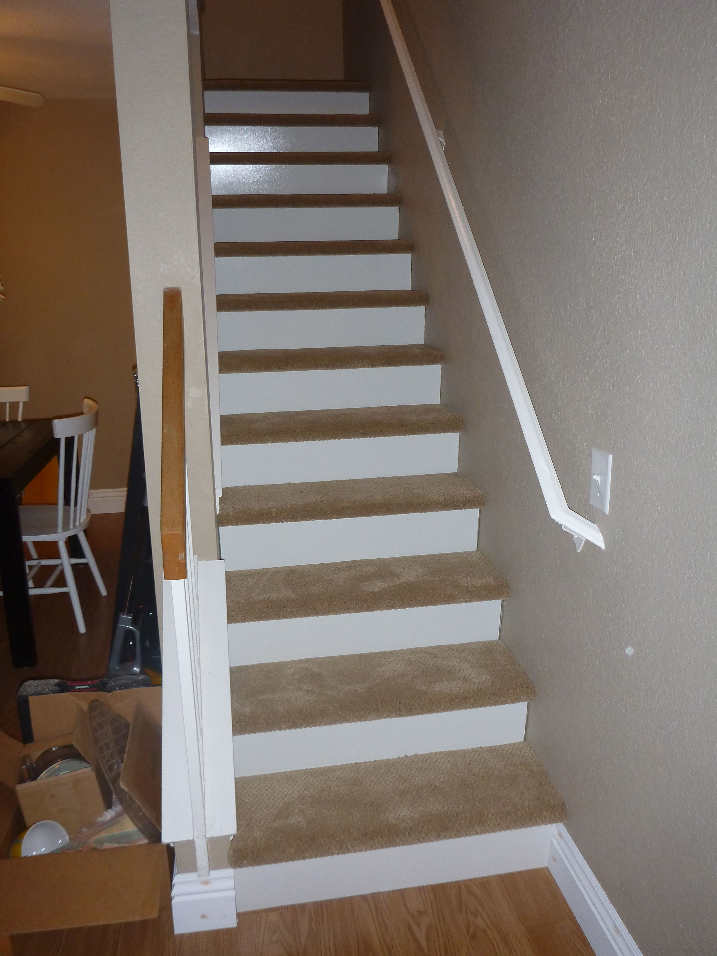 Our new stairs inch wood white board cut and put on the