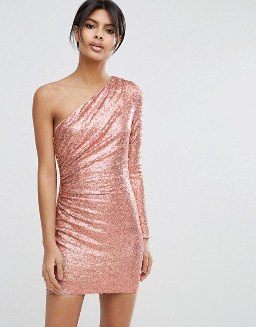 ASOS | ASOS One Shoulder Sequin Iridescent Mini Dress | Pretty ...