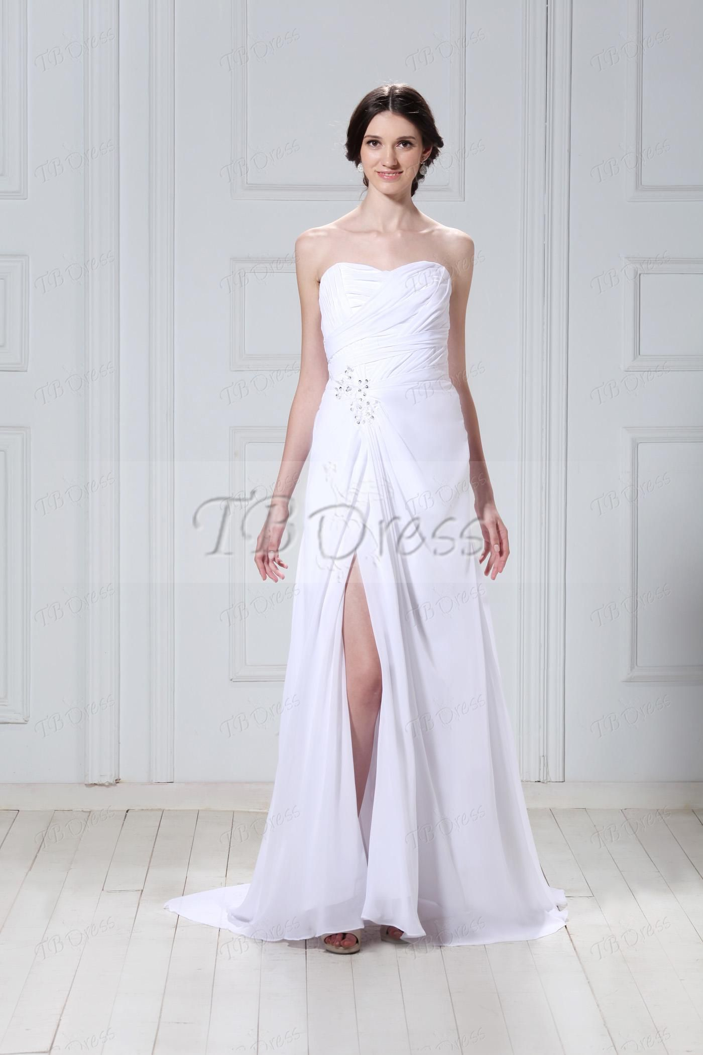 Wedding dress without train  White Sweetheart Chapel Train Crystal Floral Pin Talineus Wedding
