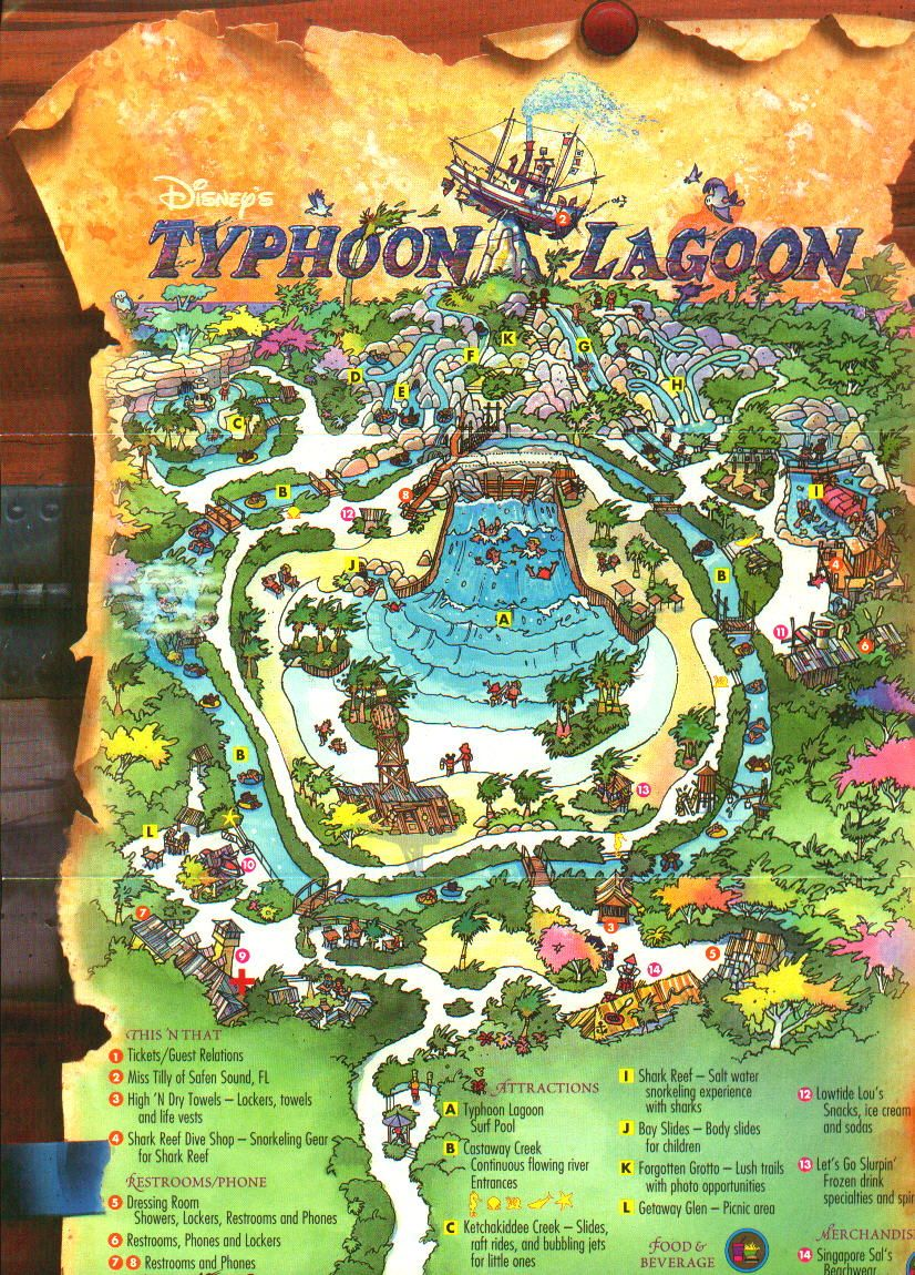 typoon lagoon pictures | Typhoon Lagoon Park Map (click on map for ...