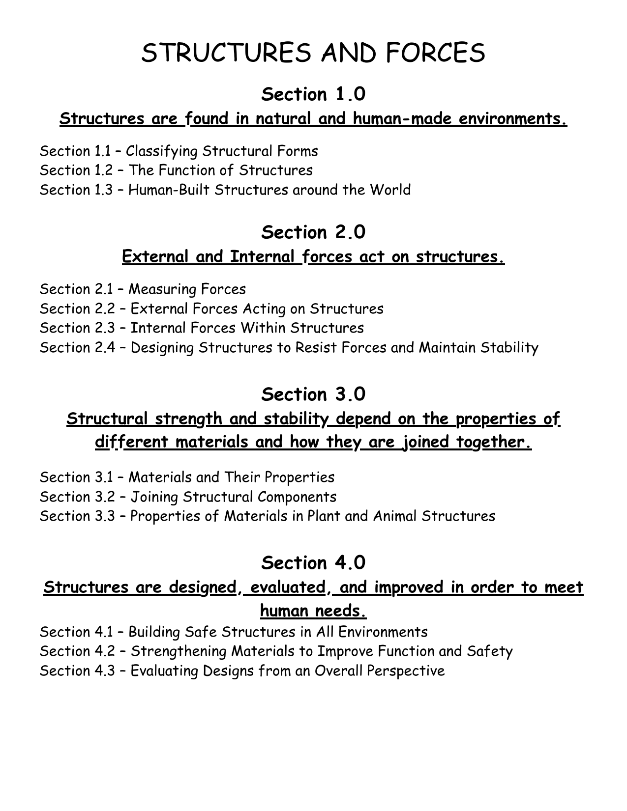 Science 7 Structure And Forces Unit And Lesson Plans