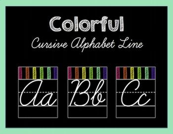 This bright and colorful cursive alphabet line is exactly