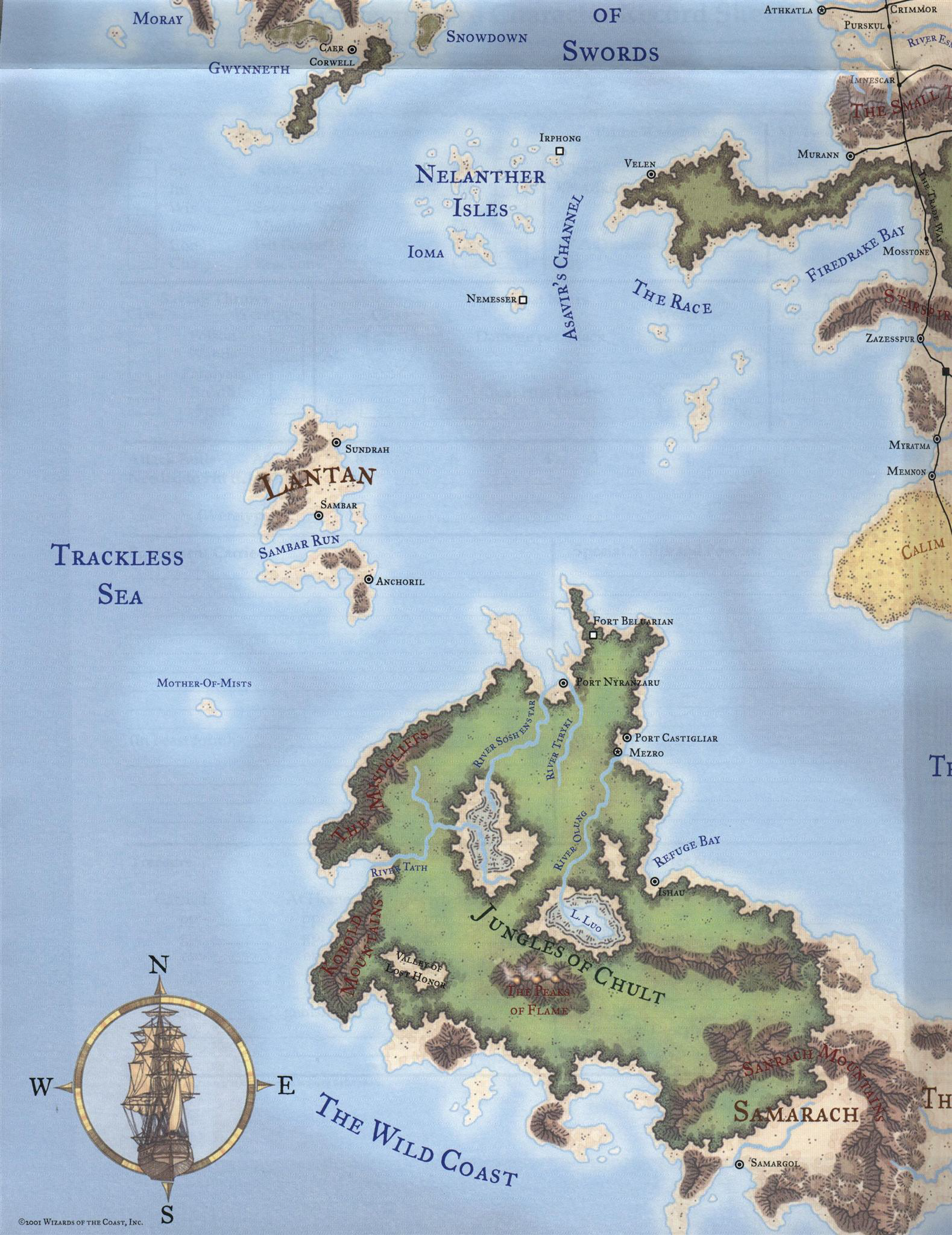 D&D The Trackless Sea with the Sea of Swords to the North Faerun