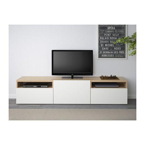 BESTÅ TV bench - white stained oak effect/Lappviken white, drawer runner, soft-closing - IKEA
