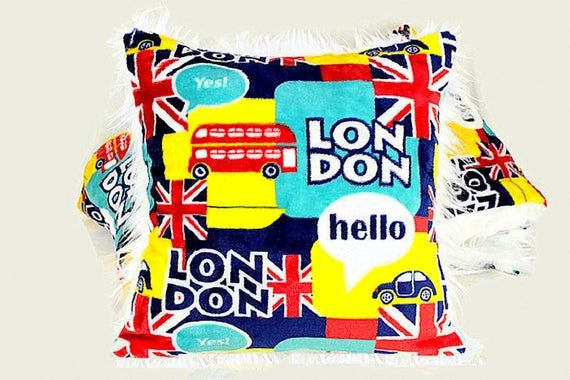 Pillow Cover Union Jack Flag Throw Pillow Cover Faux Fur Cushion Cover London British Flag Bed Room Decor Reversible Pillow Case Velveteen