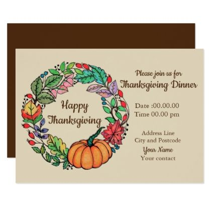 watercolor beautiful pumpkin wreath with leaves card thanksgiving invitations holiday cyo diy happy thanksgiving invitation card