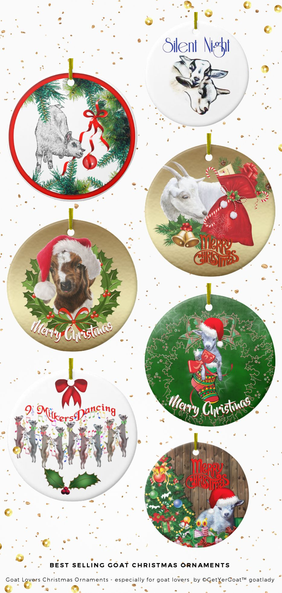 Goat Christmas Ornament.Best Selling Goat Christmas Ornaments Goat Lovers Christmas