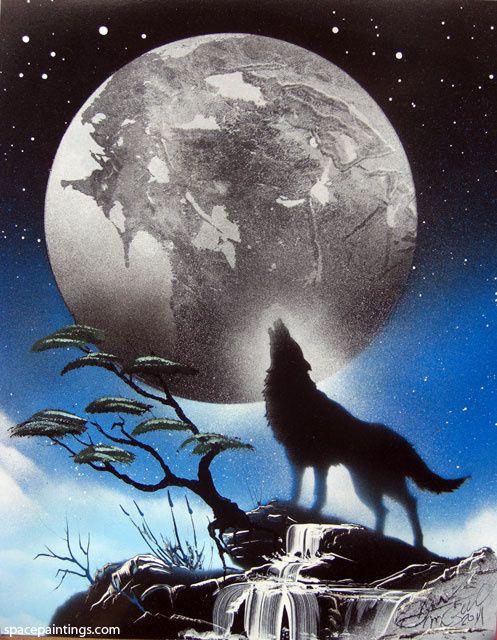 Wolf Moon Howling AIRRUSH Painting Wall Art Stencil 2