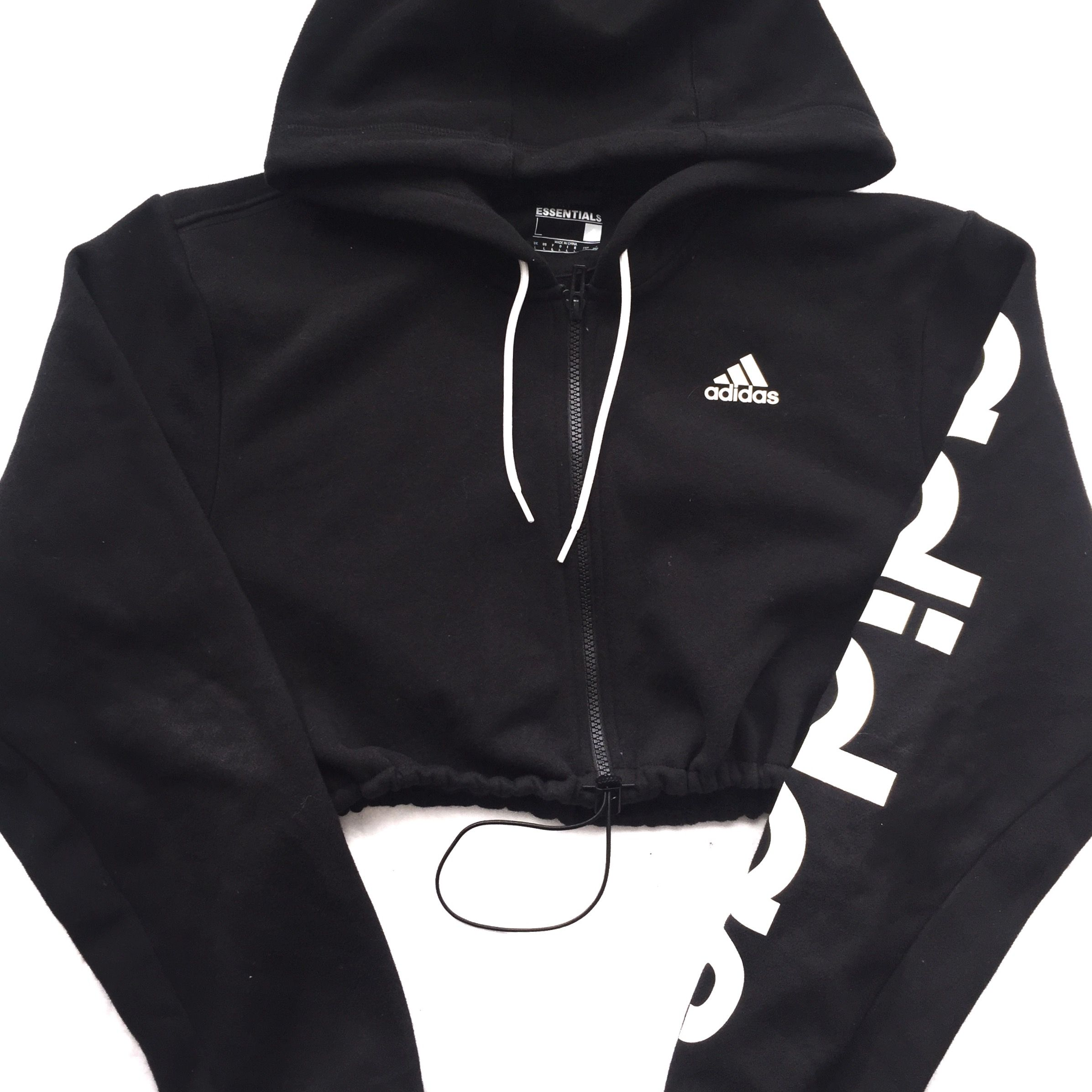 Queens Reworked Adidas Logo Crop Hoody Clothes Hoodies Adidas