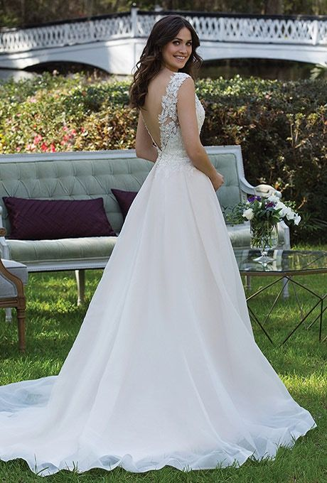 Sincerity Bridal 3941 Lace v neck and english net wedding gown - The ...
