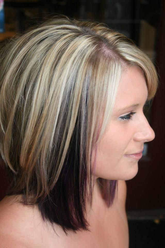 Highlights With Color Blocked Black And Purple Underneath Medium Length Hair Styles Hair Styles Trendy Hair Color