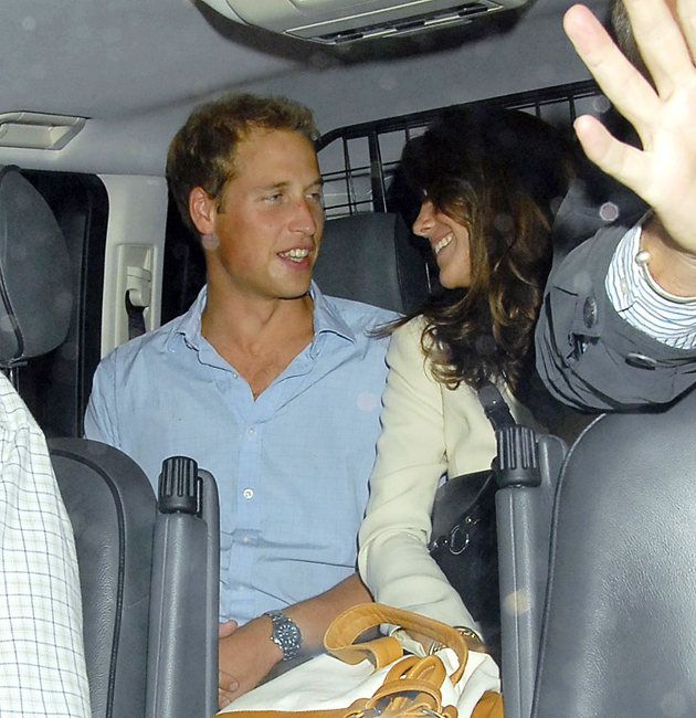 Prince William and Kate Middleton look happy and loved-up after partying the night away at a London nightclub in 2006.