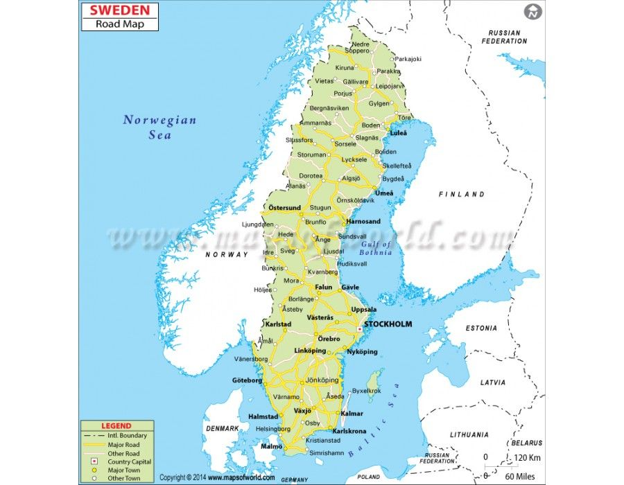 Buy Sweden Road Map | Country Maps | Sweden map, Country