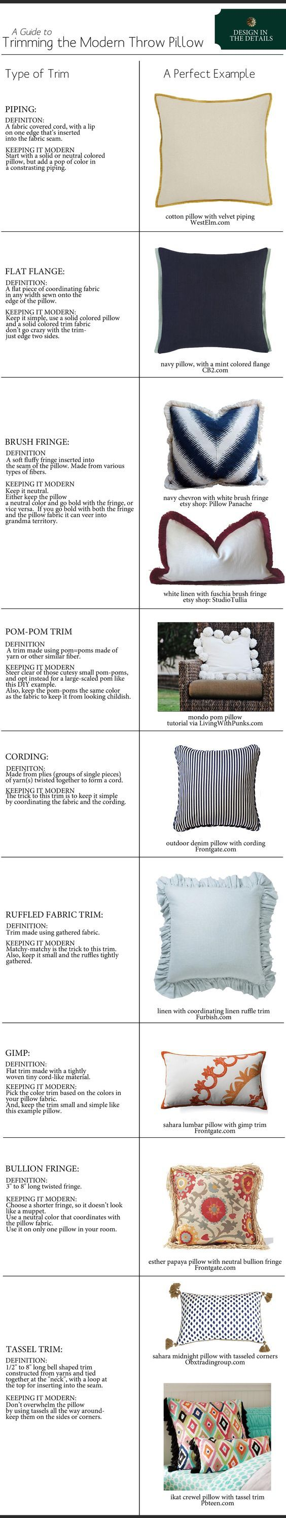 A guide for trimming the modern throw pillow design and decor