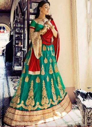 Green Red Embroidery Work Net Chiffon Designer Fancy Wedding Lehenga Choli http://www.angelnx.com/Lehenga-Choli/Wedding-Lehenga-Choli