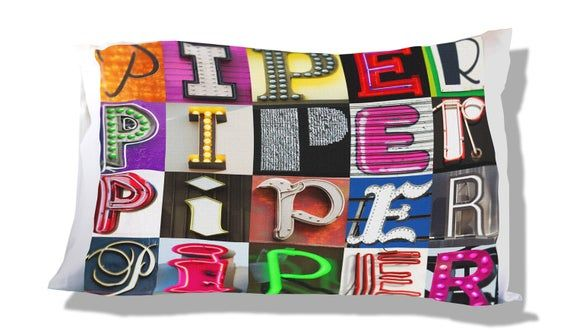 Personalized Pillow Case featuring PIPER in sign letters; Custom pillow cases; Teen bedroom decor; Cool pillowcase; Bedding