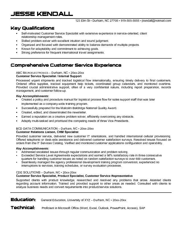 free samples of resumes for customer service
