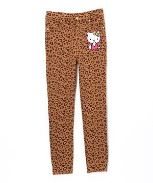 819038bca Loving this Brown Cheetah Hello Kitty Pants - Toddler & Girls on #zulily!  #zulilyfinds