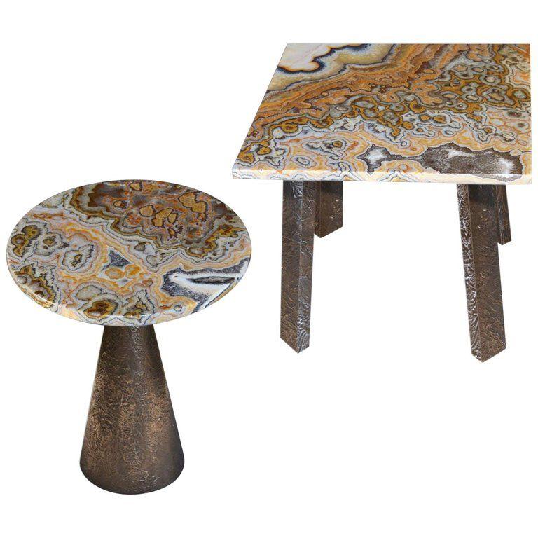 Best Arco Iris Onyx Coffee Side Tables Bronze Metal Texturized 640 x 480