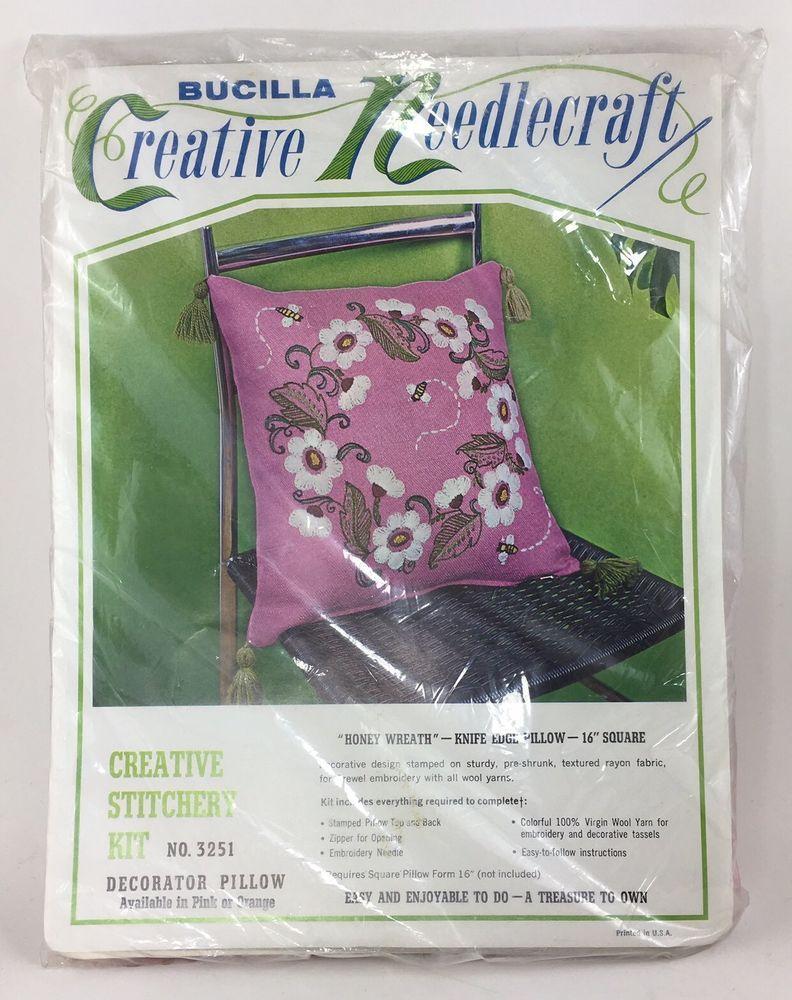 Bucilla vtg crewel embroidery pillow kit honey wreath floral hot