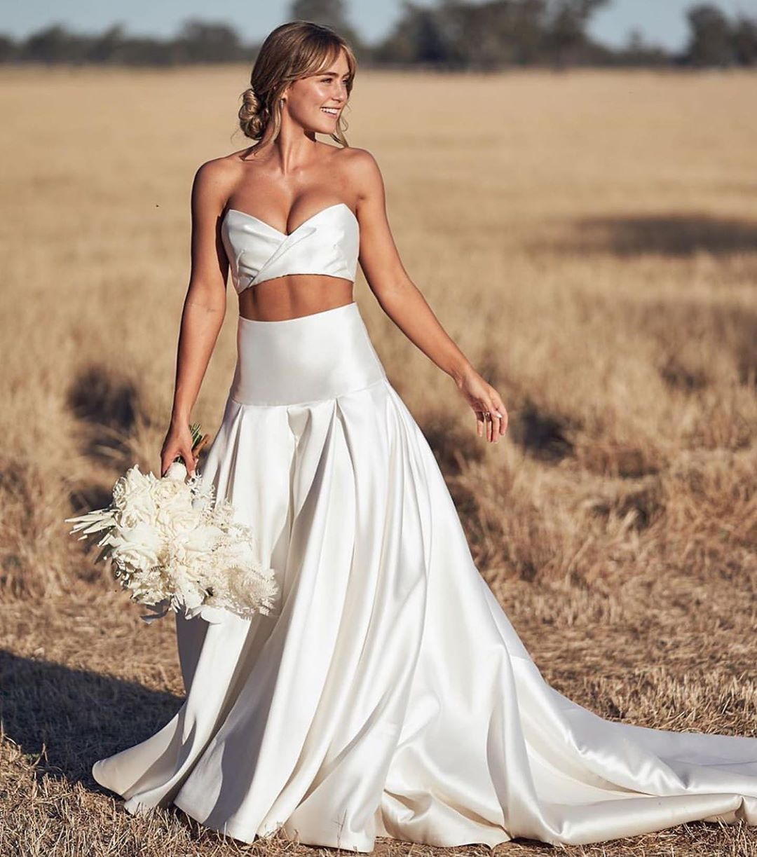 The Bridal Journey On Instagram We Were Speechless When We Saw You Step Out Of The Car Ab Two Piece Wedding Dress Brides Wedding Dress Modern Wedding Dress [ 1223 x 1080 Pixel ]