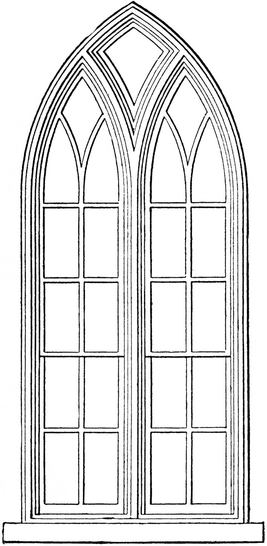 Gothic church windows clip art church windows clip art for Window design sketch