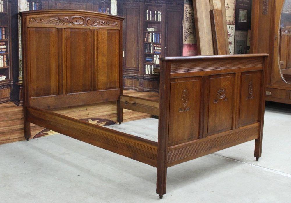 Wunderschones Antikes Jugendstil Bett Gastebett Ca 1900 Eiche Schnitzerei With Images Home Decor Furniture Decor