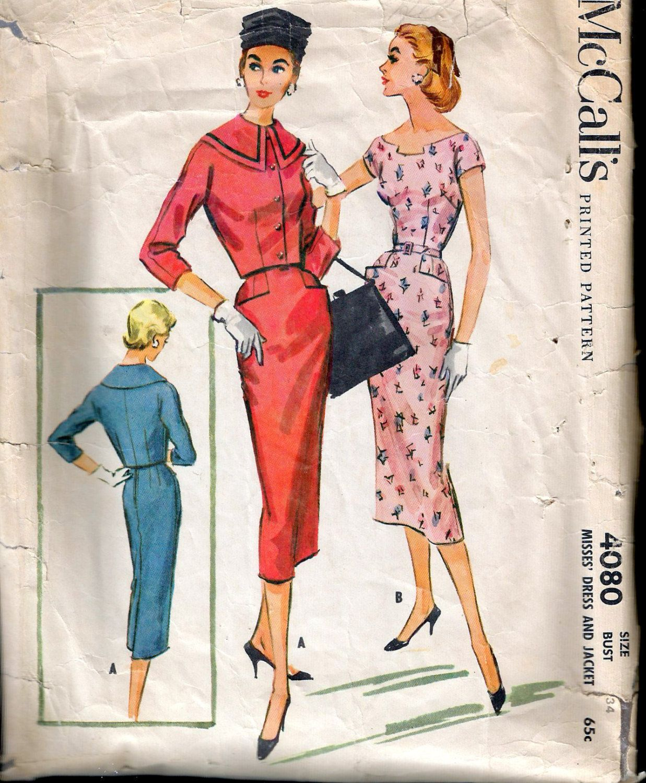 Vintage 1957 McCall\'s 4080 Slim Dress & Jacket Sewing Pattern Size ...