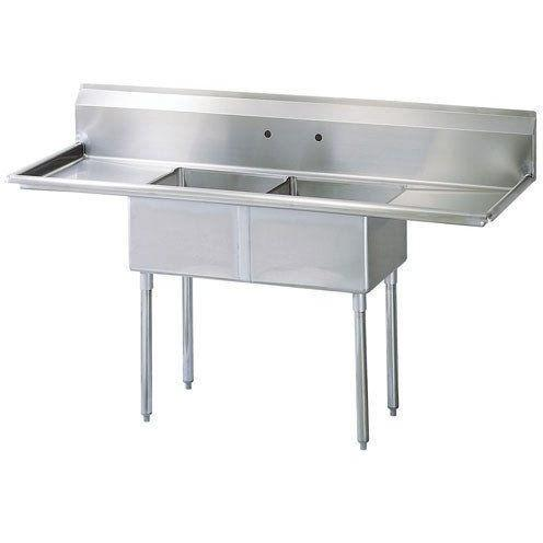 Stainless Steel 2 Compartment Sink Dimensions L X W H Bowl Size Drainboards NSF Certified 18 Gauge S