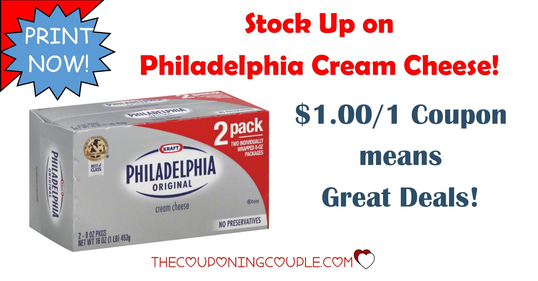 **PRINT NOW** There is a $1.00/1 Philly Cream Cheese coupon to print now!  Use at your favorite store or get a deal at Walmart!  Click the link below to get all of the details ► http://www.thecouponingcouple.com/stock-up-on-philly-cream-cheese-with-1-001-coupon/ #Coupons #Couponing #CouponCommunity  Visit us at http://www.thecouponingcouple.com for more great posts!