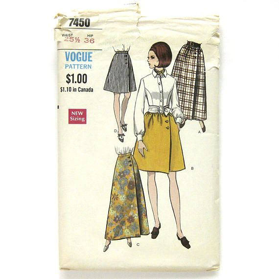 1960s Vintage VOGUE Sewing Pattern / A-Line Wrap Skirt with