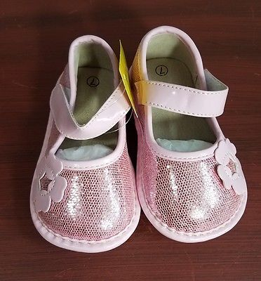Girls Toddler Pink Sparkle Flower Squeaky Mary Jane Shoes Size 7 Brand New